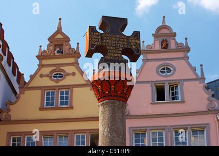 Main market with Renaissance houses and market cross, Trier, Mosel, Rhineland-Palatinate, Germany, Europe - Stock Photo
