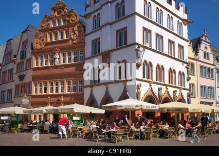 Main market with Steipe and Rotes Haus, Trier, Mosel, Rhineland-Palatinate, Germany, Europe - Stock Photo