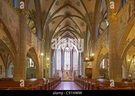 Interior design of the St. Laurentius' parish church Inside Ahrweiler Bad Neuenahr-Ahrweiler Ahr Eifel Rhineland - Stock Photo