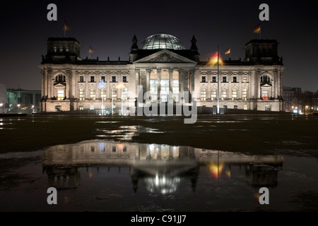 Platz der Republic with the Reichstag building in the background, Berlin, Germany, Europe - Stock Photo