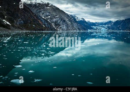 Johns Hopkins Glacier and Gilman Glacier and their reflections on Johns Hopkins Inlet, Glacier Bay National Park - Stock Photo