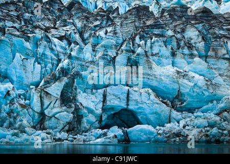 Close up of Lamplugh Glacier in Johns Hopkins Inlet, Glacier Bay National Park & Preserve, Southeast Alaska, Summer - Stock Photo