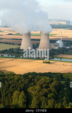 Aerial photo of nuclear power plant Grohnde, Weser River, Lower Saxony, Germany - Stock Photo