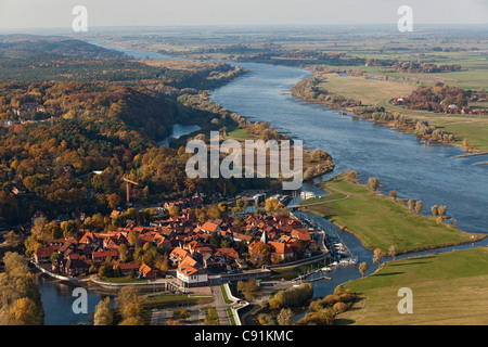 Aerial view of the town of Hitzacker on the junction of the Jeetzel River along the upper Elbe River Hitzacker Lower - Stock Photo