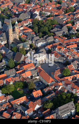 Aerial photo of the Church of St Cosmas and Damian town hall and market square in the historic town of Goslar Harz - Stock Photo