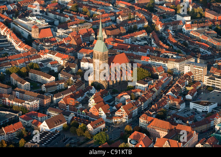 Aerial view of the city of Hildesheim St Andreas church tallest church tower in Lower Saxony Hildesheim Lower Saxony - Stock Photo