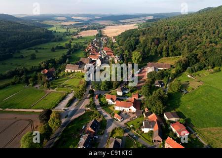 Aerial view of Haemelschenburg castle in Emmerthal, Hameln-Pyrmont, Lower Saxony, Germany