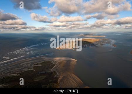 Aerial view above sandbanks of Nordeney towardss Baltrum, Lower Saxony, Germany - Stock Photo