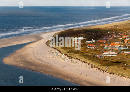 Aerial above the sandy beach, coast of East Frisian island Spiekeroog, Lower Saxony, Germany - Stock Photo
