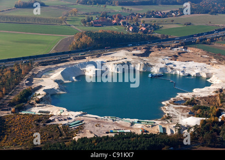aerial photo of a silica sand pit near Braunschweig on the A2 autobahn, Braunschweig, Lower Saxony, Germany - Stock Photo