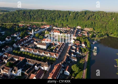 Aerial view of Bad Karlshafen, historic health resort town on the river Weser, Bad Karlshafen, Hessen, Germany - Stock Photo