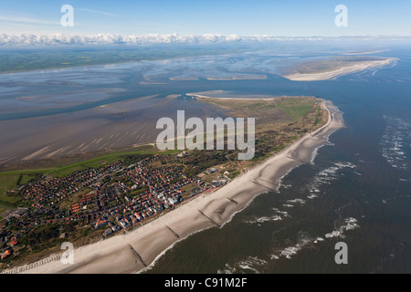 Aerial of North Sea islands, Wangerooge and Spiekeroog with the mainland in the background, Lower Saxony, Germany - Stock Photo