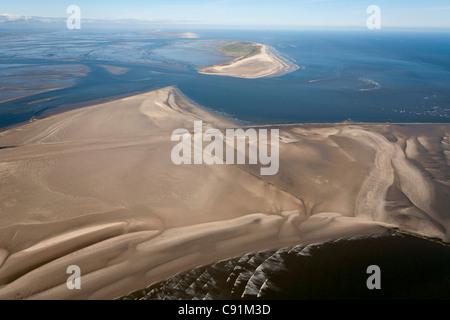 Aerial of Minsener Oog and Wangerooge, East Friesian Island, Lower Saxony, Germany - Stock Photo
