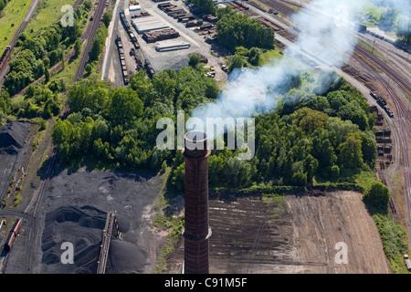 Aerial of a smoking chimney, Salzgitter Steelworks, Lower Saxony, Germany - Stock Photo