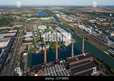 Aerial view of power plant and VW Autostadt Wolfsburg, Lower Saxony, Germany - Stock Photo