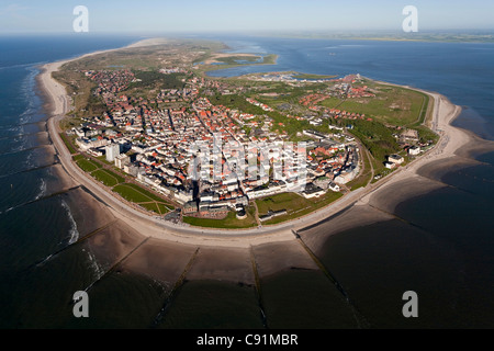Aerial of the East Frisian island Nordeney, Lower Saxony, Germany - Stock Photo