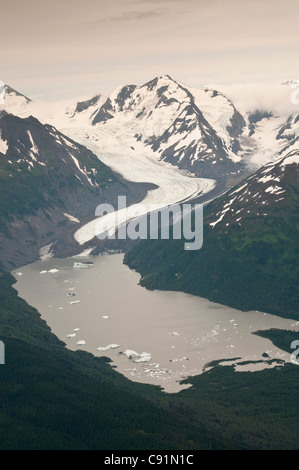 Aerial view of Twenty Mile Glacier and Lake, Chugach National Forest, Southcentral Alaska, Summer - Stock Photo