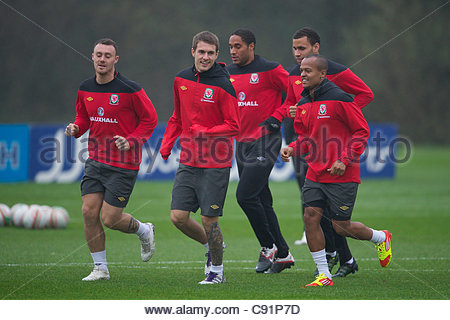 CARDIFF, WALES - Tuesday, November 8, 2011: Wales' captain Aaron Ramsey during a training session at the Vale of - Stock Photo
