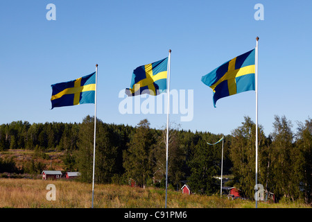 Swedish flags over rural landscape - Stock Photo