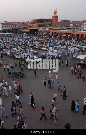 Evening food stalls at Jemaa el-Fna Square in Marrakech, Morocco. - Stock Photo