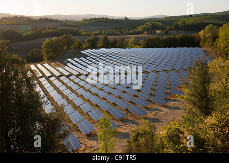 Aerial view of field of solar panels - Stock Photo