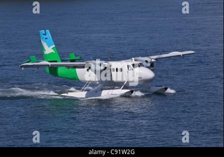 Float plane is a common way of getting around British Columbia islands and coastline. British Columbia, Canada. - Stock Photo