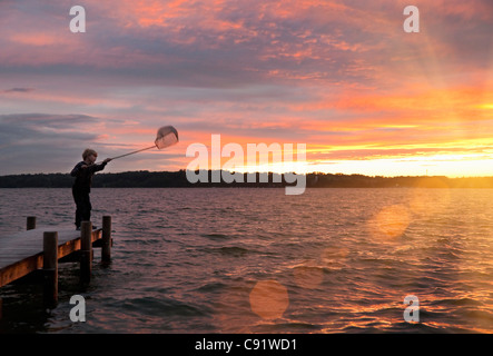 Boy fishing with net in lake - Stock Photo