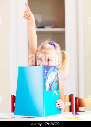 Girl reading book at desk - Stock Photo