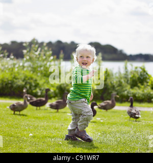 Boy playing with ducks in yard - Stock Photo