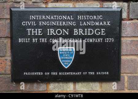 Sign on the historic Iron Bridge, the first of its kind built in 1779, in Ironbridge Gorge, Shropshire, UK. - Stock Photo