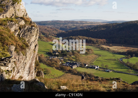 Aerial view from Cefn y Capel to village in green valley in Snowdonia National Park Capel Curig, Conwy, North Wales, - Stock Photo