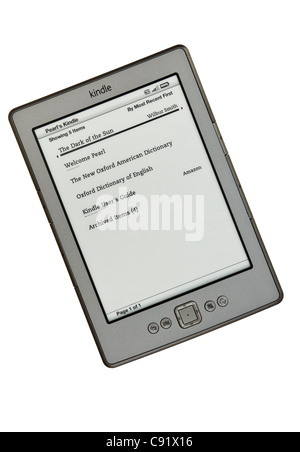 New Amazon wifi Kindle ebook reader books list page on a white background. England, UK, Britain - Stock Photo