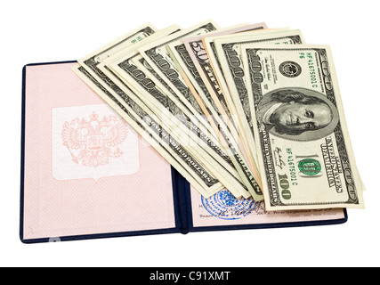Russian diploma of education and money over white - Stock Photo