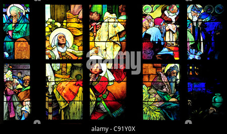 Prague, Czech Republic. St Vitus' Cathedral. Stained glass window - The Lives of Sts Cyril and Methodius (1931; - Stock Photo