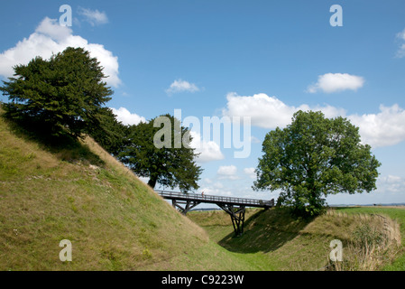 Old Sarum is an ancient Iron Age hillfort believed to date from 3,000 years BC and a significant place of occupation - Stock Photo