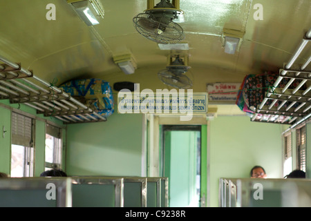 Reserved seating area for Monks, disabled people and senior citizens on the train to Ayutthaya in 3rd class,Bangkok,Thailand - Stock Photo