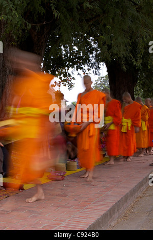 Local people donate food and gifts to monks during the early morning alms collection by monks walking to their temple - Stock Photo