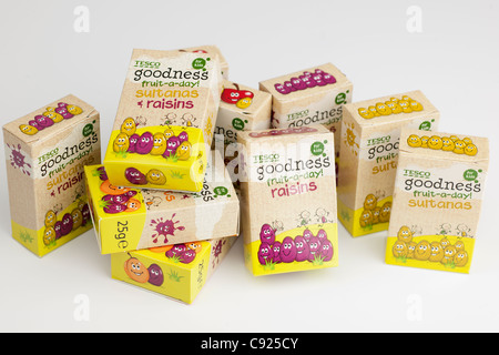 Ten small boxes of Tesco childrens whole fruit a day temptations - Stock Photo