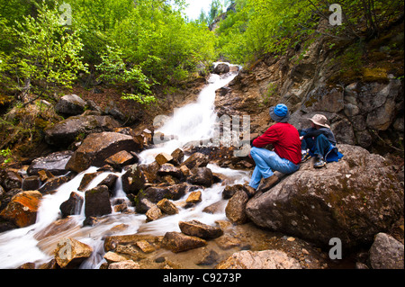 A father and son on a hike rest on a rock while looking at Cascade Falls near Byers Lake in Denali State Park, Alaska - Stock Photo