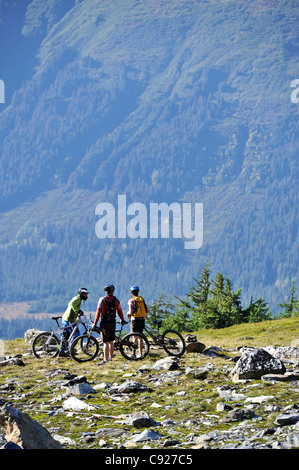 Two mountain bikers enjoy a day of tram serviced mountain biking at Alyeska Resort in Girdwood overlooking Turnagain - Stock Photo