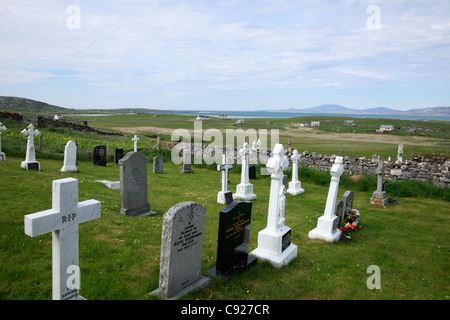 A remote graveyard on the island of Barra in the Outer Hebrides, Scotland. - Stock Photo