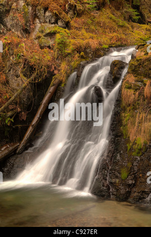 Blurred motion of Salmon Creek Falls near Juneau, Southeast Alaska, Summer. HDR - Stock Photo