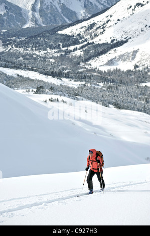 Woman skier backcountry skiing in PMS Bowl in Turnagain Pass, Chugach National Forest, Southcentral Alaska, Winter - Stock Photo
