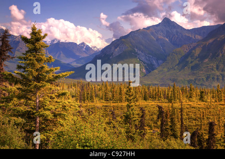 View of the Chugach Mountains taken from the Glenn Highway, Southcentral Alaska, Summer - Stock Photo