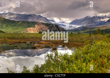 Scenic view of Gulkana Glacier and the Alaska Range in the background along the Richardson Highway, Southcentral - Stock Photo