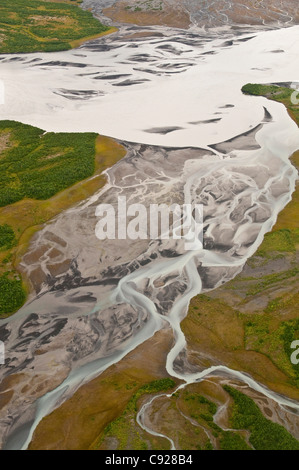 Aerial view of braided river near Colony Glacier in the Lake George State Recreation Area, Southcentral Alaska, - Stock Photo