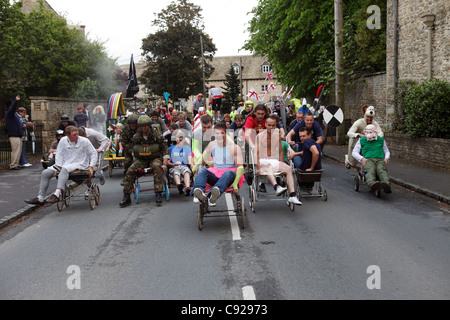 The quirky annual Great Shirt Race held on the Whitsun bank holiday weekend at the end of May, in Bampton, Oxfordshire, - Stock Photo