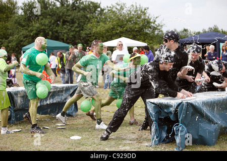 The quirky annual Official World Custard Pie Championship, held in the summer in Coxheath, near Maidstone in Kent, - Stock Photo