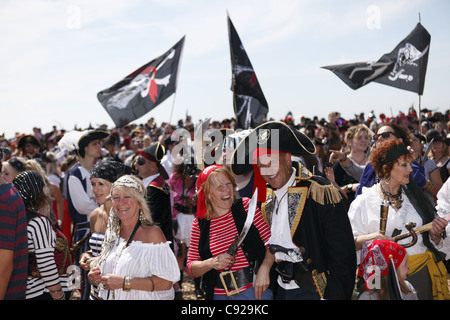 The quirky annual Pirate Day, held during festivities of Old Town Carnival Week in July/August in Hastings, East - Stock Photo