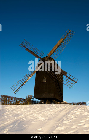 Aarhus Old Mill is one of the sights of the city, on the hill above Den Gamle By. - Stock Photo